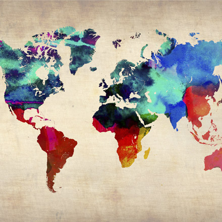 World Watercolor Map