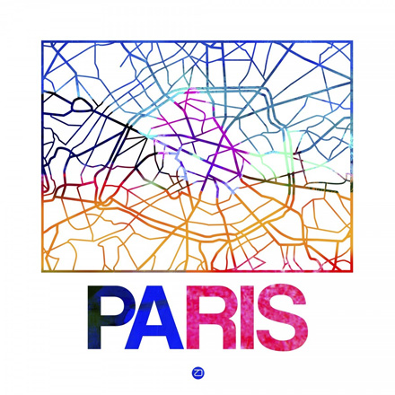 Paris Watercolor Street Map