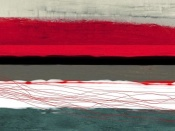 NAXART Studio - Abstract Stripe Theme Red Grey And White