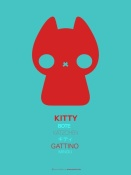 NAXART Studio - Red And Blue Kitty Multilingual Poster