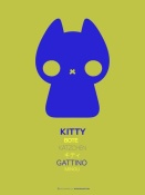 NAXART Studio - Blue Kitty Multilingual Poster