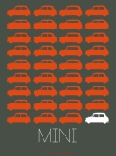 NAXART Studio - Orange Mini Cooper Poster