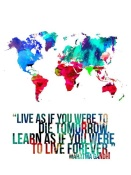 NAXART Studio - World Map Quote Mahatma Gandi