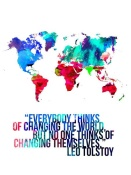 NAXART Studio - World Map Quote Leo Tolstoy