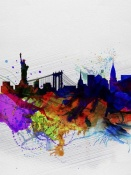 NAXART Studio - New York  Watercolor Skyline 1