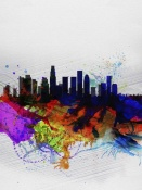 NAXART Studio - Los Angeles  Watercolor Skyline 2