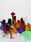 NAXART Studio - Seattle Watercolor Skyline 2