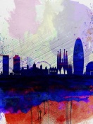NAXART Studio - Barcelona Watercolor Skyline 2