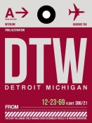 NAXART Studio - DTW Detroit  Luggage Tag 1