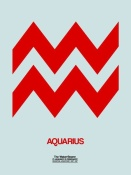 NAXART Studio - Aquarius Zodiac Sign Red