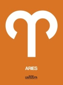 NAXART Studio - Aries Zodiac Sign White on Orange