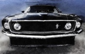 NAXART Studio - 1968 Ford Mustang Shelby Front Watercolor