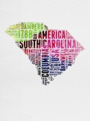 NAXART Studio - South Carolina Watercolor Word Cloud