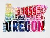 NAXART Studio - Oregon Watercolor Word Cloud