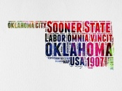 NAXART Studio - Oklahoma Watercolor Word Cloud