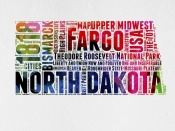 NAXART Studio - North Dakota Watercolor Word Cloud