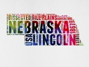 NAXART Studio - Nebraska Watercolor Word Cloud