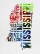 NAXART Studio - Mississippi Watercolor Word Cloud