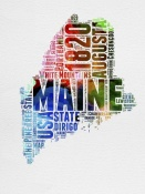 NAXART Studio - Maine Watercolor Word Cloud