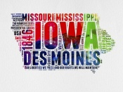 NAXART Studio - Iowa Watercolor Word Cloud