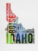 NAXART Studio - Idaho Watercolor Word Cloud