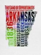 NAXART Studio - Arkansas Watercolor Word Cloud