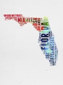 NAXART Studio - Florida Watercolor Word Cloud