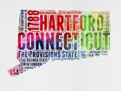 NAXART Studio - Connecticut Watercolor Word Cloud