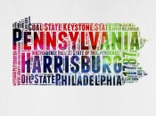 NAXART Studio - Pennsylvania Watercolor Word Cloud