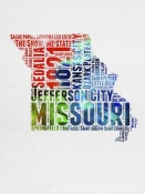 NAXART Studio - Missouri Watercolor Word Cloud