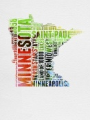 NAXART Studio - Minnesota Watercolor Word Cloud