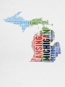 NAXART Studio - Michigan Watercolor Word Cloud
