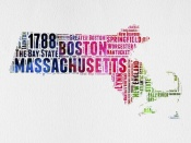 NAXART Studio - Massachusetts Watercolor Word Cloud