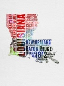 NAXART Studio - Louisiana Watercolor Word Cloud