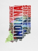 NAXART Studio - Indiana Watercolor Word Cloud