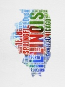 NAXART Studio - Illinois Watercolor Word Cloud
