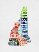 NAXART Studio - New Hampshire Watercolor Word Cloud