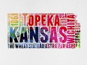 NAXART Studio - Kansas Watercolor Word Cloud