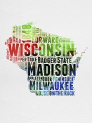 NAXART Studio - Wisconsin Watercolor Word Cloud