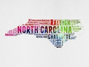 NAXART Studio - North Carolina Watercolor Word Cloud