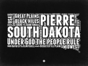 NAXART Studio - South Dakota Black and White Map