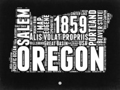 NAXART Studio - Oregon Black and White Map