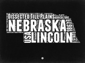 NAXART Studio - Nebraska Black and White Map