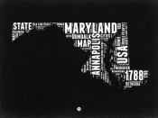 NAXART Studio - Maryland Black and White Map