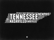 NAXART Studio - Tennessee Black and White Map