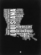 NAXART Studio - Louisiana Black and White Map