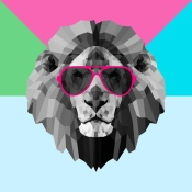 NAXART Studio - Party Lion in Red Glasses