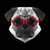 NAXART Studio - Pug in Red Glasses