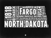 NAXART Studio - North Dakota Black and White Map