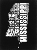 NAXART Studio - Mississippi Black and White Map